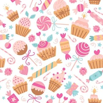 Vektornahtloses muster mit süßen süßigkeiten und plätzchen