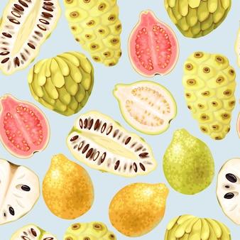Vektornahtloses muster mit tropischen fruchtscheiben