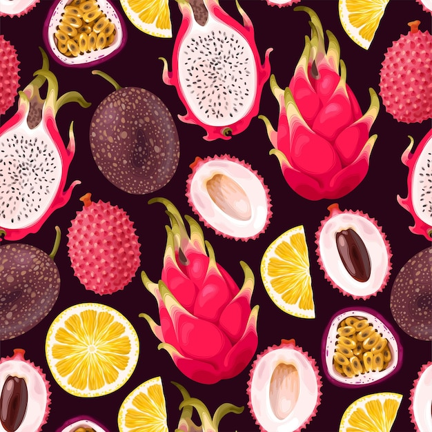 Vektornahtloses muster mit tropischen früchten