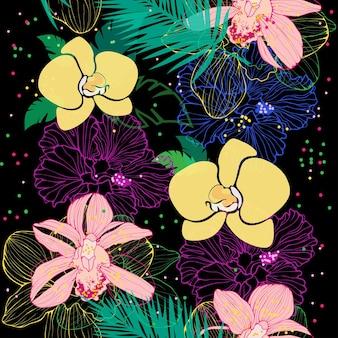 Vektornahtloses muster mit verschiedenen rosa und gelben orchideen auf dunklem hintergrund