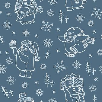 Vektornahtloses muster mit weihnachtspinguinen auf dunklem hintergrund