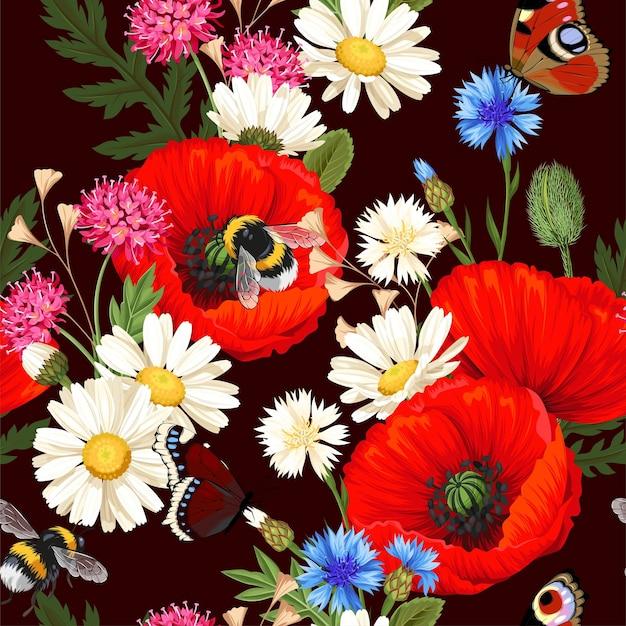 Vektornahtloses muster mit wiesenblumen und insekten