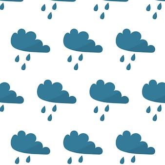 Vektornahtloses muster mit wolken und regentropfen