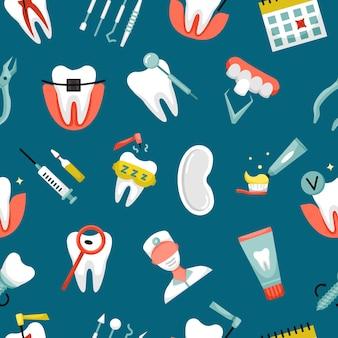 Vektornahtloses muster mit zahnmedizinikonen. zahnärztlicher hintergrund