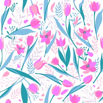 Vektornahtloses muster von netten stilvollen tulpen.