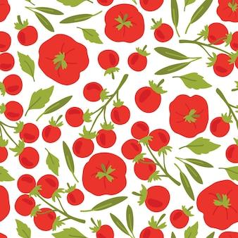 Vektornahtloses muster von tomaten und kräutern
