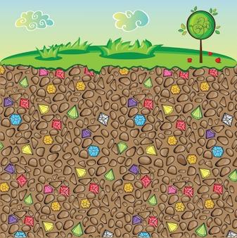 Vektornatur, steine und edelsteine in verschiedenen farben unter der erde