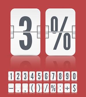 Vektornumerische flip-anzeigetafel mit symbolen und reflexionen für weißen countdown-timer oder webseitenuhr oder kalender einzeln auf rot