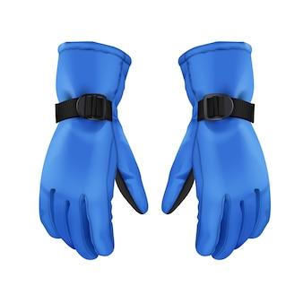 Vektorpaar der blauen warmen sportwinterhandschuhe lokalisiert auf weißem hintergrund