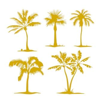 Vektorpalmenkonturen lokalisiert auf weiß. illustrationssatz