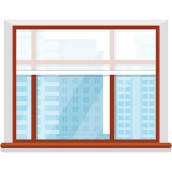 Vektorpanoramafenster mit wolkenkratzerhausansicht