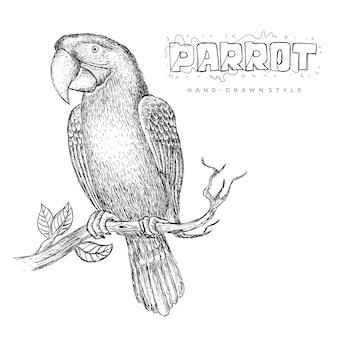 Vektorpapagei thront auf einem baumstamm, illustration eines handgezeichneten tieres
