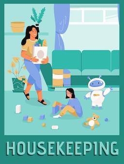 Vektorplakat des gemütlichen smart homes des housekeeping-konzepts