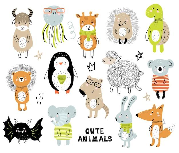 Vektorplakat mit buchstaben des alphabets mit comic-tieren für kinder im skandinavischen stil. handgezeichnete grafische zoo-schriftart. perfekt für karten, etiketten, broschüren, flyer, seiten, banner-design. abc.