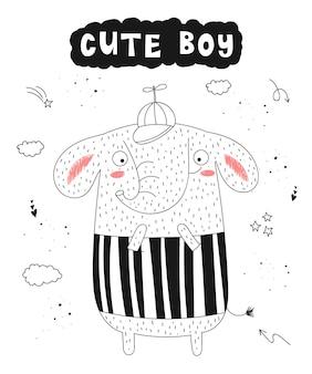 Vektorplakat mit lustigem tier- und hippie-slogan der karikatur hand gezeichneter grafischer zoo