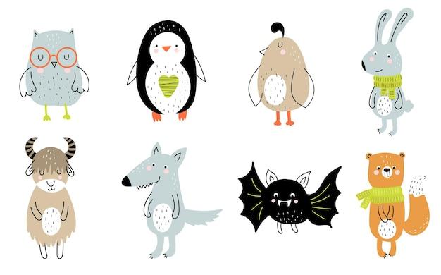 Vektorplakat mit niedlichem tier der karikatur für kinder und lustigem slogan im skandinavischen stil