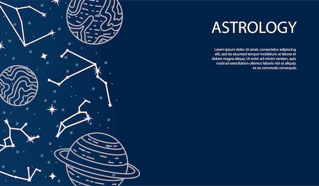 Vektorplakat mit planeten und konstellationen. astrologischer hintergrund. eine vorlage mit platz für text.