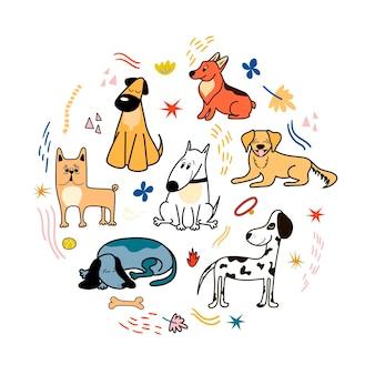Vektorplakat mit süßen hunden verschiedener rassen corgi bulldog dalmatiner dackel bullterrier