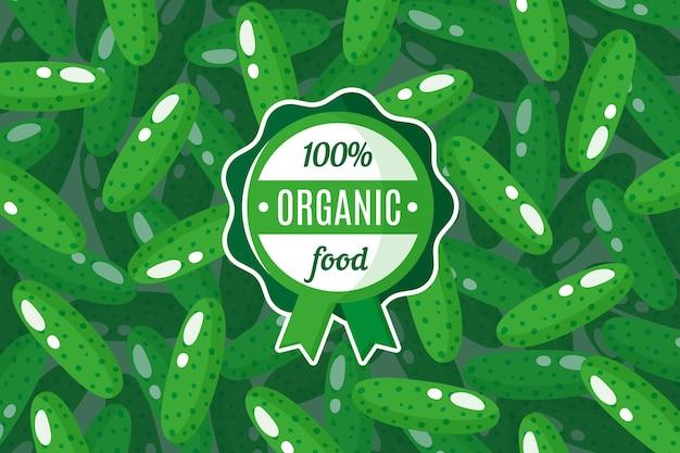 Vektorplakat oder -fahne mit illustration des grünen gurkenhintergrundes und des runden grünen etiketts für organische lebensmittel
