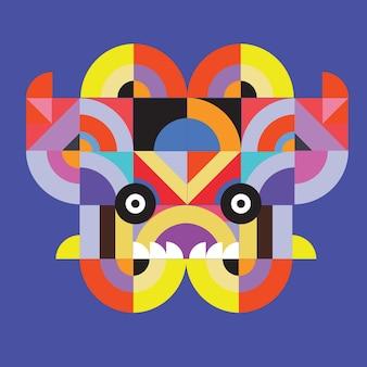 Vektorpop-art-flachen polygonalen illustrationskopf des tieres