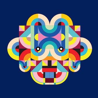 Vektorpop-art-flacher polygonaler illustrationskopf der ziege