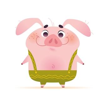 Vektorporträt des netten lächelnden kleinen schweincharakters in den grünen hosen in der flachen karikaturart, die lokalisiert auf weißem hintergrund steht. symbol des neuen jahres und der weihnachtsferien.