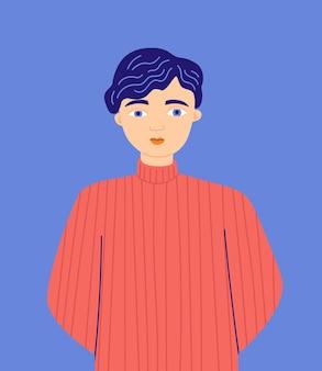 Vektorporträt eines mannes flache illustration der karikatur