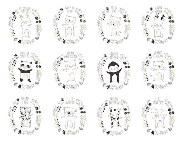 Vektorpostkarte mit tier, umgeben von einem pflanzenkranz mit herbstslogan. erntedankfest, jubiläum, babyparty, geburtstag, kinderfest, herbstferien Premium Vektoren