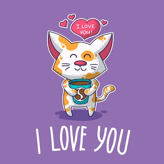 Vektorpostkarte über verliebte katze