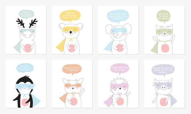 Vektorpostkartensammlung mit superheldentieren und cooler slogan-gekritzelillustration