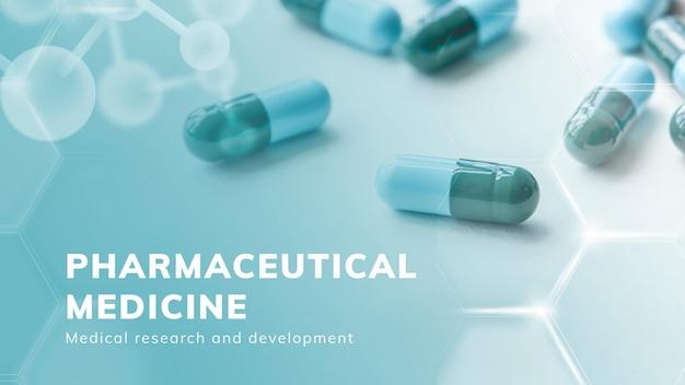 Vektorpräsentation der pharmazeutischen medizin im gesundheitswesen