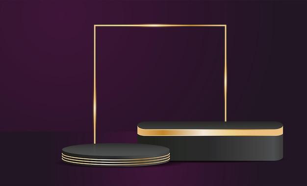 Vektorproduktständer in schwarz- und goldfarben, luxuskonzepthintergrund, präsentationsmodell, ausstellungsdesign für kosmetische displays
