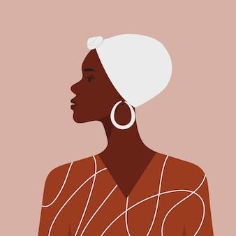 Vektorprofilporträt der schönen schwarzen afrikanischen frau mit schal auf dem kopf im flachen stil