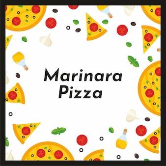 Vektorquadratischer rahmen der pizza und der bestandteile.