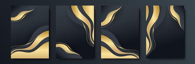 Vektorrahmen für text moderne kunstgrafiken für hipster. stilvoller geometrischer schwarzer hintergrund des dynamischen rahmens mit gold. element für design-visitenkarten, einladungen, geschenkkarten, flyer und broschüren