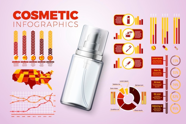 Vektorrealistische 3d-cremeflasche mit business-infografik-symbolen und diagrammen isoliert auf hell