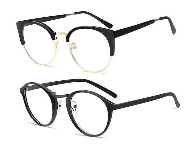 Vektorrealistische brille mit schwarzem griff