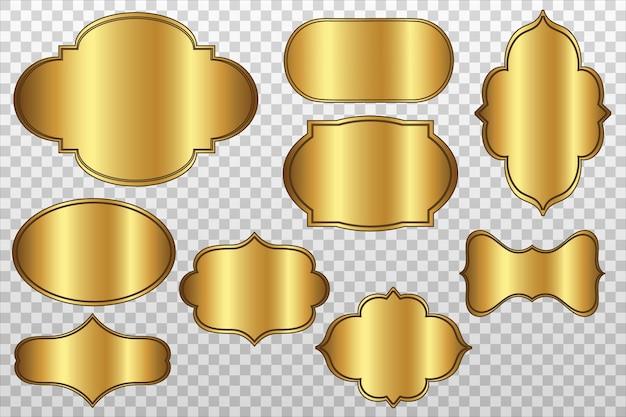 Vektorrealistische goldetiketten mit rahmen eingestellt