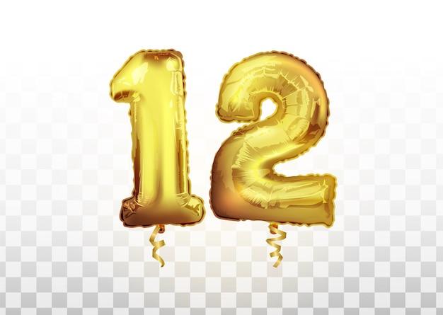Vektorrealistische isolierte goldene ballonnummer 12 auf dem transparenten hintergrund. feiern von 12. jahre geburtstag vektor 3d-darstellung. zwölfjähriges jubiläum.