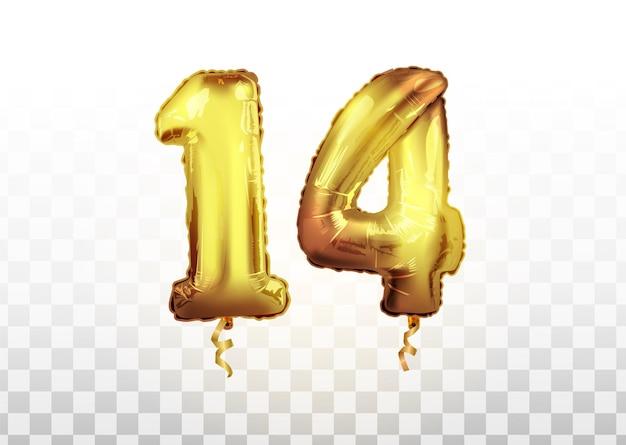 Vektorrealistische isolierte goldene ballonnummer 14 für einladungsdekoration auf dem transparenten hintergrund. feiern des 14. geburtstags des geburtstagsvektors 3d illustration.