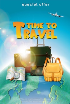 Vektorrealistische reisekonzeptfahne oder -plakat mit touristischen elementen gepäckkartenflugzeug mit ag