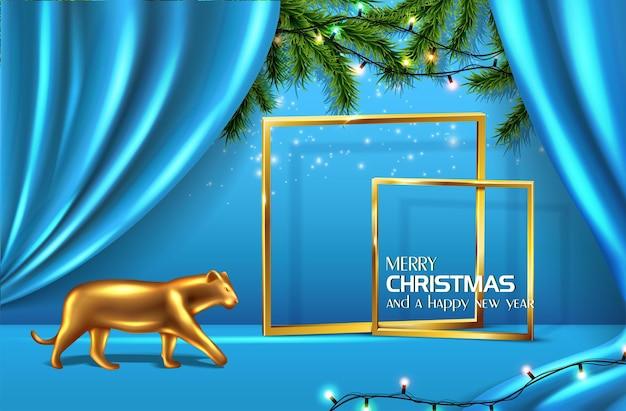 Vektorrealistische weihnachten und neujahr hintergrund banner flyer grußkarte postkarte blauer bac