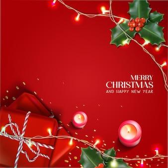 Vektorrealistische weihnachten und neujahr hintergrund banner flyer grußkarte postkarte square o