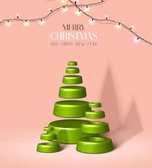 Vektorrealistische weihnachten und neujahr hintergrund banner flyer grußkarte postkarte vertikal