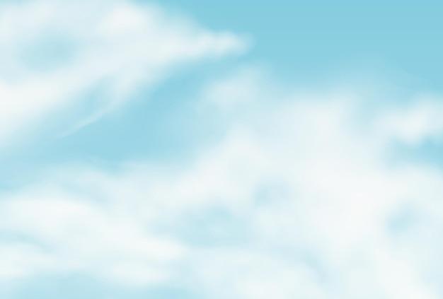 Vektorrealistischer hintergrund mit sommerwolken. bewölkter flauschiger himmel illustrationstextur. sturm, regenwolkeneffekthintergrund. vorlage für das atmosphärenklimakonzept