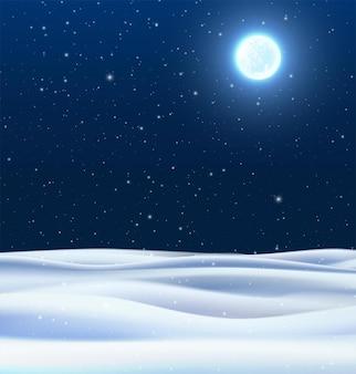 Vektorrealistischer nachtwinterhintergrund mit schneefeldern und blauem himmel mit mondglühen