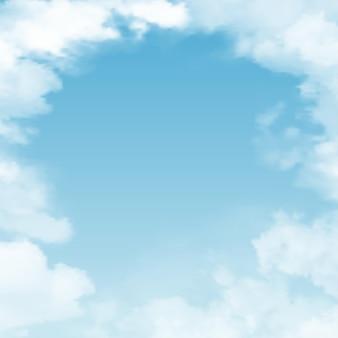 Vektorrealistischer skyscape-himmel mit wolkenloch in den wolken mit form des kreises