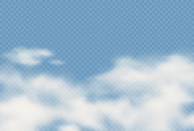 Vektorrealistischer transparenter hintergrund mit wolken. bewölkter flauschiger himmel illustrationstextur. sturm, regenwolkeneffekthintergrund. vorlage für das atmosphärenklimakonzept