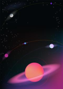 Vektorrealistischer und futuristischer vertikaler hintergrund des weltraums mit hellen hellen planeten und sternen