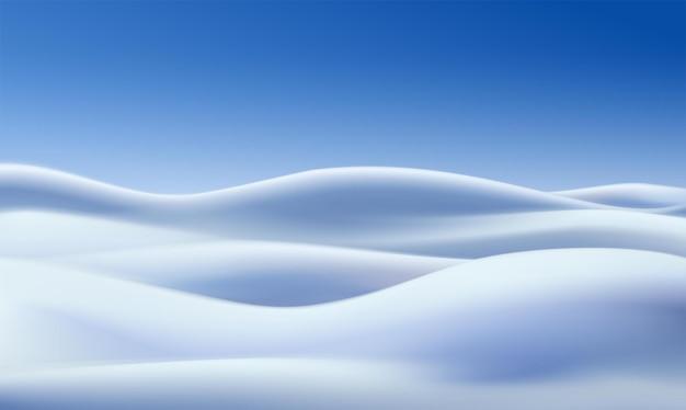 Vektorrealistischer winterhintergrund mit schneefeldern und blauem himmel